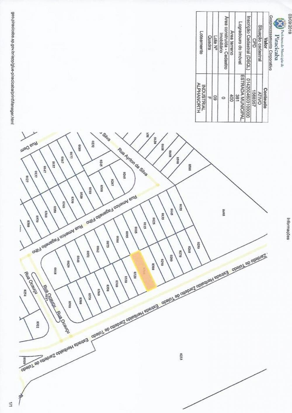 Excelente terreno para uso industrial medindo 400,00 m². Ótima topografia com leve aclive. (Próximo ao condomínio Alphanorth)