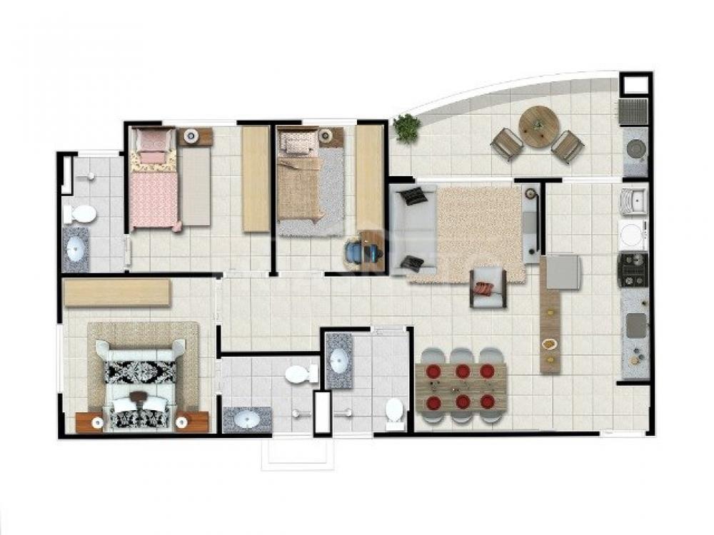 Apartamento medindo 84,00m² com 3 dormitórios , sendo 1 suíte, sala dois ambientes com sacada, banheiro social,  cozinha , área de serviço,  2 vagas cobertas.  Condomínio com salão de festas, espaço gourmet, academia, piscina, playground e salão de jogos. Aceita Financiamento e FGTS
